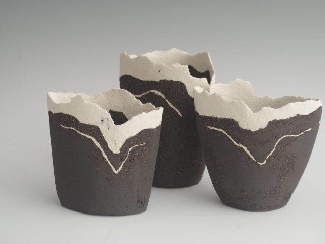 Small Abstract Landscape Vessels in Black