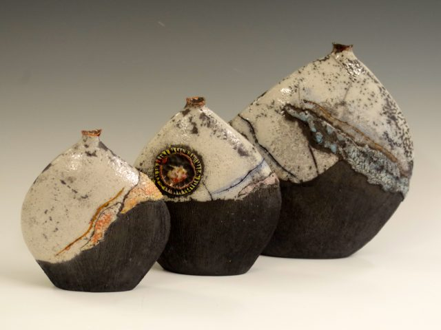 Set of 3 Abstract Landscape Vessel Forms (Raku)